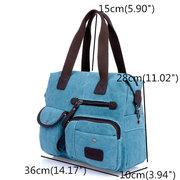 Damen Schultertasche aus Segeltuch mit Mehrtasche Handtasche im Retro zwanglosen Stil