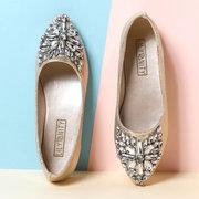 Women Sweet Ladies Lightweight Rhinestone Casual Flat Shoes