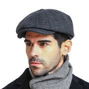 Boina de cuadro retra octagonal de lana Gorra de newsboy casual en invierno para hombres y mujeres