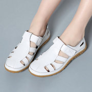 Leather Hollow Out Breathable Soft Hook Loop Causal Flat Shoes