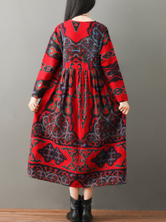 V-neck Folk Style Print Long Sleeve Vintage Dresses