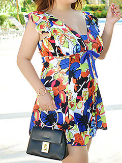 Plus Size Printed Flower Sexy V Neck Colorful Flounces String Swimdress For Women