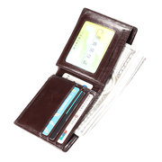 RFID Antimagnetic Genuine Leather Vintage Tri-fold Driver License Short Wallet For Men