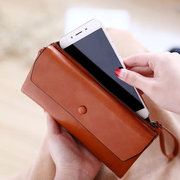 Women Trifold Oil Wax Leather Wallet Multi-Function Phone Purse 12 Card Slot Card Holder