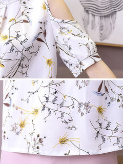 Floral Printed Off-shoulder Stand Collar T-shirts