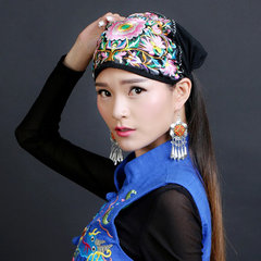 Womens Ethnic Style Embroidery Cotton Chinese Style Beanie Hat Vintage Breathable Turban Caps