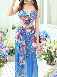 Sexy Halter Backless Flower Printing High Waist Bathing Three Pieces Swimwear For Women