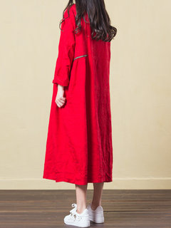 Vintage Plate Buckle Jacquard Long Sleeves Dress