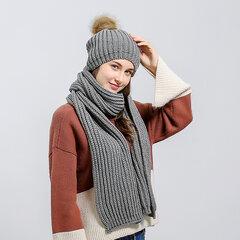 Frauen Weihnachten Strickmütze Schals Set Solid Beanie Cap Verdickung Schal Slouchy Warme Schädel Cap