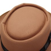 Men Women Porkpie Pork Pie Fedora Upturn Short Brim Black Ribbon Band Caps