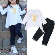 2pcs impresso meninas crianças roupas casuais definir t-shirt + denim Calças Jeans para 2-9anos