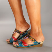 SOCOFY Magic Forest Hand-colored Genuine Leather Hook Loop Slip On Comfortable Sandals