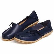 LOSTISY Big Size Pure Color Slip On Lace Up Soft Sole Comfortable Flat Loafers