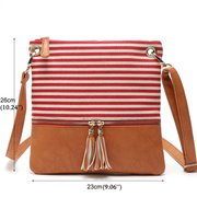 Casual Joint Stripe Canvas PU Leather Crossbody Bag Shoulder Bag For Women