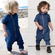 Baby Boy Denim Romper Zipper Short Sleeve Jumpsuit Outfits For 0-36M