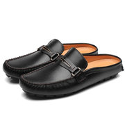 Large Size Men British Style Color Blocking Flat Slip On Casual Backless Loafers