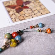 Bohemian Ceramics Necklace Long Style Women Sweater Necklace Tassels Retro Necklace