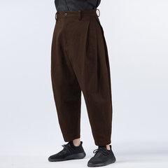 Mens Multi-Fold Cotton Linen Solto Cor Sólida Mid cintura Harem Casual Calças