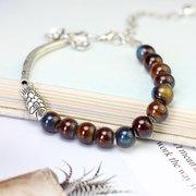 Vintage Cuff Bracelets Colorful Beads Silver Fish Pattern Pulseras de cerámica Joyería étnica para mujeres