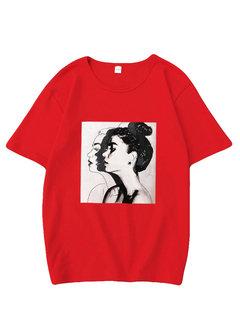 Camisetas estampadas de manga corta con cuello en O.