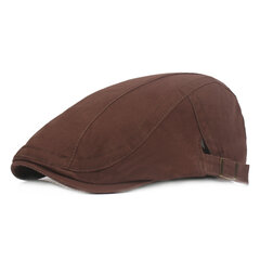 Mens Solid Cotton Sunshade Beret Hat Casual Golf Driving Cabbie Cap Adjustable