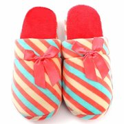 Stripe Slip On Warm Indoor Flat Cute Bowknot Home Shoes