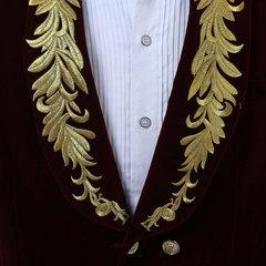 Uomo singolo bottone in oro ricamo Gentleman Autunno Casual Sottile Fit Jacket Suit Blazer