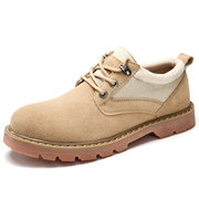 Men Classic Metal Eyelets Low Top Lace Up Ankle Work Boots
