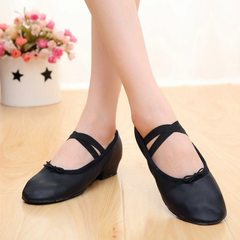 Large Size Women Elastic Band Chunky Heel Solid Color Slip On Pumps