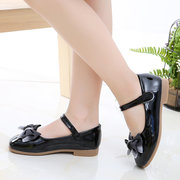 Girls Bowknot Decor Solid Color Hook Loop Flat Dress Shoes