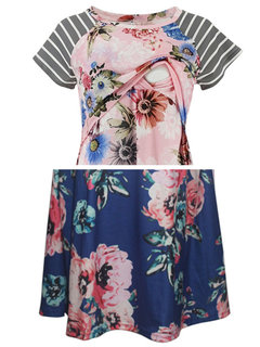 Women's Floral Ruched Maternity and Nursing Dress