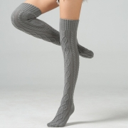 Women Acrylic Over Knee Stocking Solid Color Double Diamond Thigh Long Stockings Socks