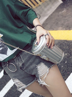 Women PU Leather Bucket Bag Personality Cup Creative Single Shoulder Oblique Cross Chain Small Bag