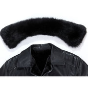 Mens Thicken Faux Fur Detachable Collar Leather Jackets Fleece Lining Shearling Coat