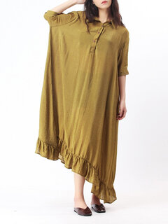 O-NEWE Casual Solid Lapel Trumpet Dress For Women