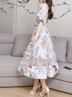 Lace Layers Turn-down Collar Dresses for Women