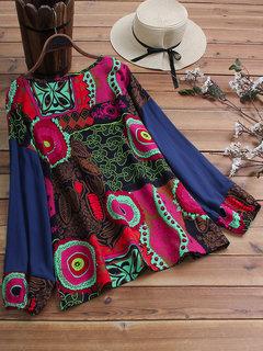 Blusa de impressão de retalhos de impressão étnica vintage Plus tamanho Blusa