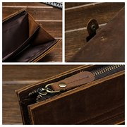 Genuine Leather Bifold Wallet Vintage Casual 17 Card Slots Card Pack Purse For Men