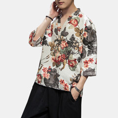 Mens Ethnic Style Printed V-Kragen Kurzarm T-Shirt Sommer Casual Tops