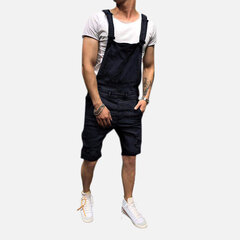 Herren Vintage Washed Denim Overalls Hosenträger Ripped Casual Jeans Shorts