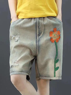 Casual Elastic Waist Embroidery Distressed Denim Shorts