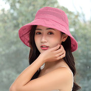 Womens Summer Foldable Breathable Anti-UV Fisherman Hat Outdoor Travel Sunscreen Cotton Bucket Hat