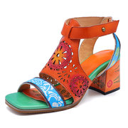 SOCOFY Hand Painted Vintage Circular Wheel Pattern Genuine Leather Hollow Hook Loop Soft Sandals