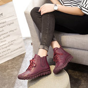 Genuine Leather Pure Color Lace Up Soft Sole Boots For Women