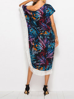 Bohemian Printed Tassel One Shoulder Mid-Long Dresses