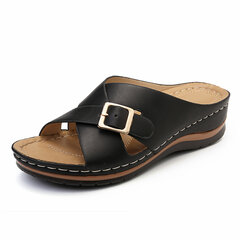LOSTISY Cross Buckle Slippers Peep Toe Casual Wedges Sandals