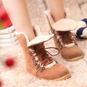 Big Size Multi-Way Lace Up Warm Flat Fur Forro Ankle Boots