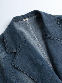 Vintage Turn-down Callor Denim Jacket