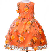 3D Flower Patchwork Girls Kids Sleeveless Fancy Princess Dress For 3Y-15Y