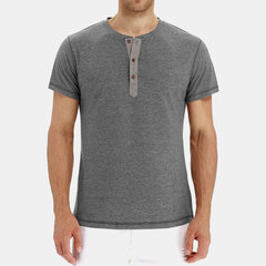 Mens Classic Solid Color Short Sleeve Buttons Up Fit Casual Henley Shirt